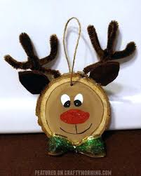 wood slice reindeer ornaments crafty morning