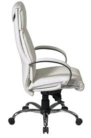 Leather Executive Desk Chair 7270 Office Star Deluxe High Back Executive White Leather Office