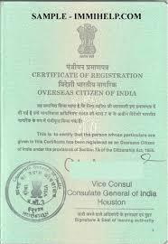 sample oci card india registration booklet