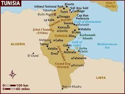 tunisia on africa map map of tunisia