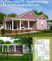 plan corner lot living home house plans and porches architectural designs house plan with shaped porch perfect for your corner