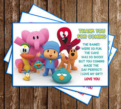 pocoyo party supplies novel concept designs pocoyo birthday party thank you card