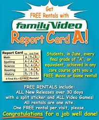 free family video movie or video game rentals for good grades