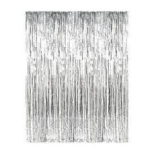 Silver Foil Curtains Silver Metallic Fringe Curtain Foil Tinsel Room Decor 3 X 8
