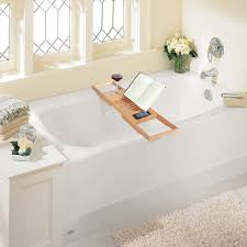 expandable deluxe bamboo bathtub caddy with a bar