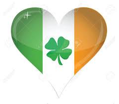 Irrland Flag Ireland Flag Heart Glossy And Clover Illustration Design Over