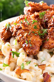 4 cheese mac and cheese with honey pepper chicken the chunky chef