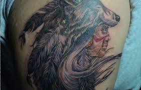 native american chief in a mask wolf tattoo tattooimages biz