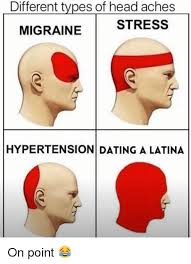 Different Memes - different types of head aches stress migraine hypertension dating