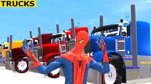 mcqueen spiderman color truck transport videos for kids