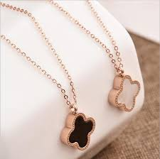 gold clover pendant necklace images Wholesale double side shell clover necklace rose gold lucky four jpg