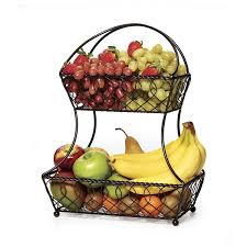 mikasa gourmet basics 2 tier flatback basket display fruit kitchen