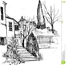 urban sketch house in the park vector illustration stock vector