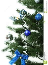 decorated christmas tree on white background close up stock photo