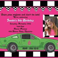 girls race car birthday invitation racecar birthday party
