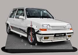 renault super 5 renault super 5 gt turbo blanche en miniature auto horloge