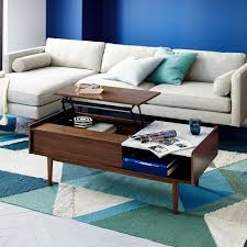 Flip Up Coffee Table Mid Century Pop Up Storage Coffee Table U2013 Walnut West Elm