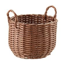 Container Store Laundry Hamper by Round Plastic Wicker Storage Bin With Handles The Container Store