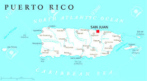Puerto Rico On A Map by Puerto Rico Political Map With Capital San Juan A United States