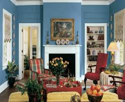 Pictures Of Traditional Living Rooms by Cool Blue Wall Painted With White Fireplace Also Vintage Red