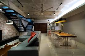 open plan terrace house interior designed in a stylish industrial