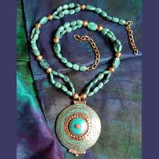 turquoise colored necklace images The bead story turquoise blue bead long necklace festivya jpg