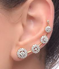 cuff earrings renaissance traders american diamond designer gold plated ear cuff
