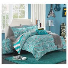 amaretto chevron and geometric printed reversible comforter set 10