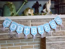baptism decorations ideas for boy god bless banner boys name banner optional blue and white