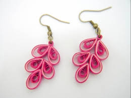 paper ear rings ooak pink button paper quilled earrings meylah