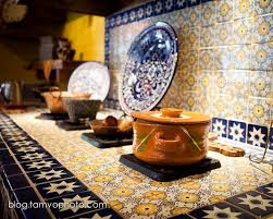 mexican tile kitchen ideas colorful blue white and yellow ceramic tiles for the backsplash