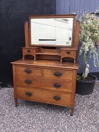Oak Vanity Table With Drawers Antique Art Nouveau Oak Dressing Table Chest With Mirror Above
