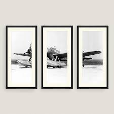 framed vintage plane sketch wall art set of three world market