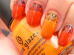 nail art rare orange nail art picture concept and black designs