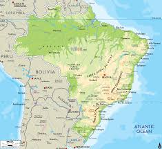 Map O Physical Map Of Brazil Ezilon Maps
