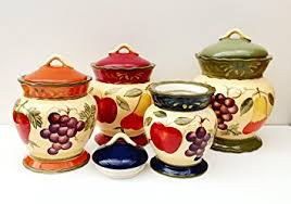 kitchen canisters set of 4 amazon com tuscany garden colorful painted mixed fruit