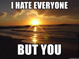 I Hate Everyone Meme - i hate everyone but you inspiriong sunset meme generator
