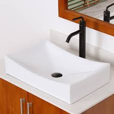 elite bathroom long rectangle white porcelain ceramic vessel sink