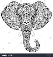Animal Ornaments Beautiful Handpainted Elephant Ornament Tattoo Elephant Stock