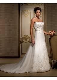 inexpensive organza ivory wedding dress strapless a line skirt