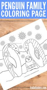 penguin family coloring page for adults trail of colors