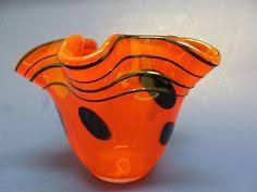 Vintage Orange Glass Vase Zelezny Brod Miloslav Klinger Czech Glass Vase By Secreteyesonly