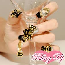 bling up inc gothic black gold gyaru bling nail art with