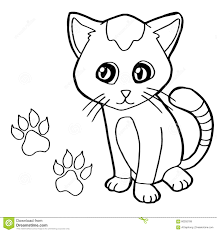 paw print with cat coloring page vector stock vector image 60292789