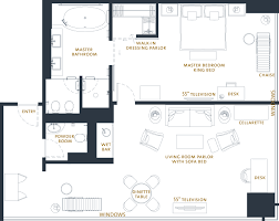 One Bedroom Floor Plan Luxury 1 Bedroom River View Suite The Langham Chicago