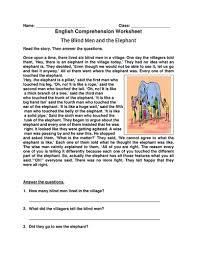 Blind Man And Elephant English Comprehension Worksheet U0027the Blind Men And The Elephant