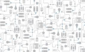 seamless background of electrical scheme technological process