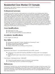 Resume For Older Workers Residential Care Worker Cv Sample Myperfectcv