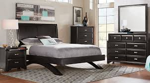belcourt black 5 pc queen platform bedroom with sleigh headboard