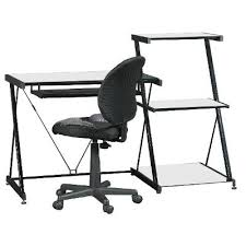 glass computer desk with bookcase and office chair nero rc